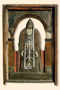 Скульптурное изображение Нила Столобенского. Дерево, темпера. Собрание монастыря Нило-Столобенская пустынь