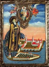 Икона преп. Нила Столобенского. Левкас, темпера, металл. Начало XIX века