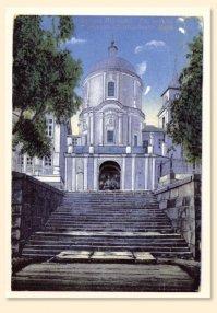 Вид от Ахиерейской пристани на надвратную церковь преп. Нила. Фото Проскудина-Горского, начало ХХ в.