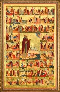 Житийная икона преп. Нила Столобенского. Нилова Пустынь. Богоявленский Собор